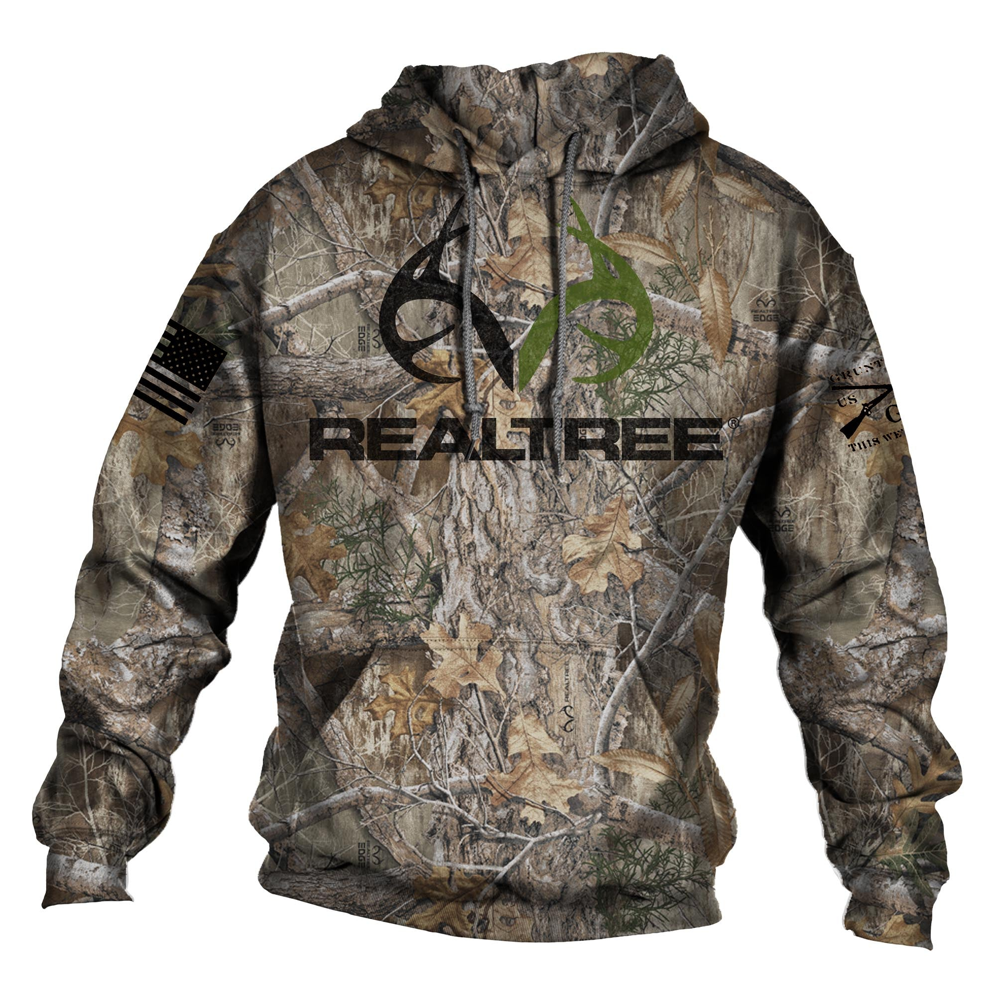 Realtree Edge® Hoodie - Black/Green Logo