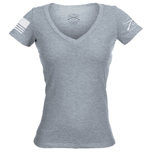 Basic V-Neck - Dark Heather Grey - Women's