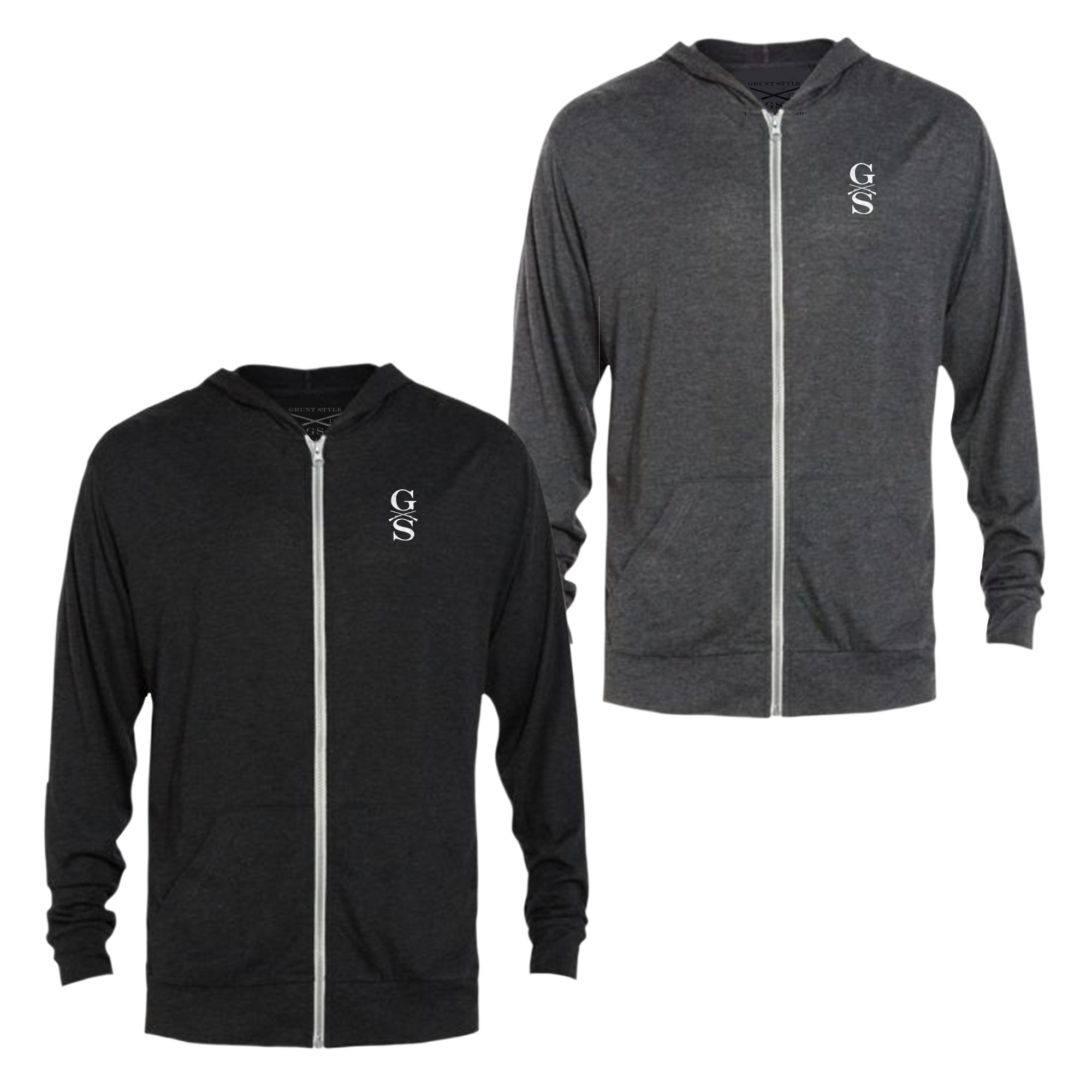 Basic Lightweight Tri-Blend Full-Zip Hoodie