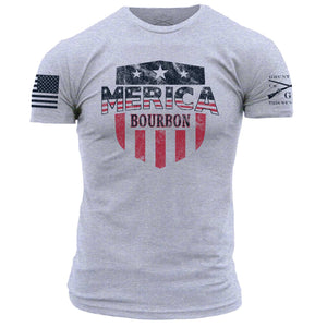Merica Bourbon Shield - Heather Grey