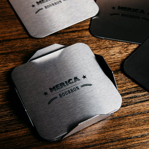 Merica Bourbon Metal Coaster Set