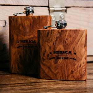 Merica Bourbon 6oz Woodgrain Flask