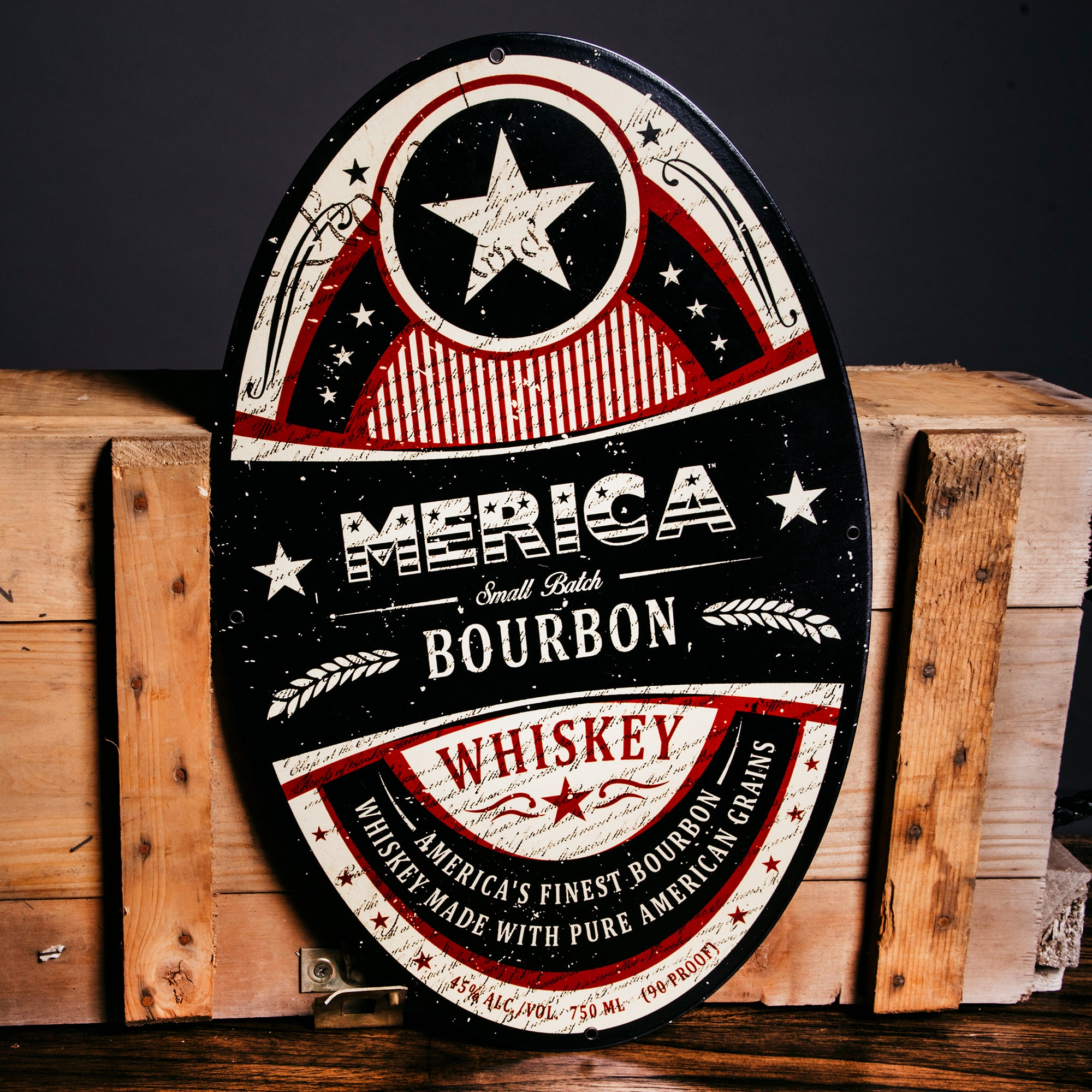 Merica Bourbon Steel Logo Sign