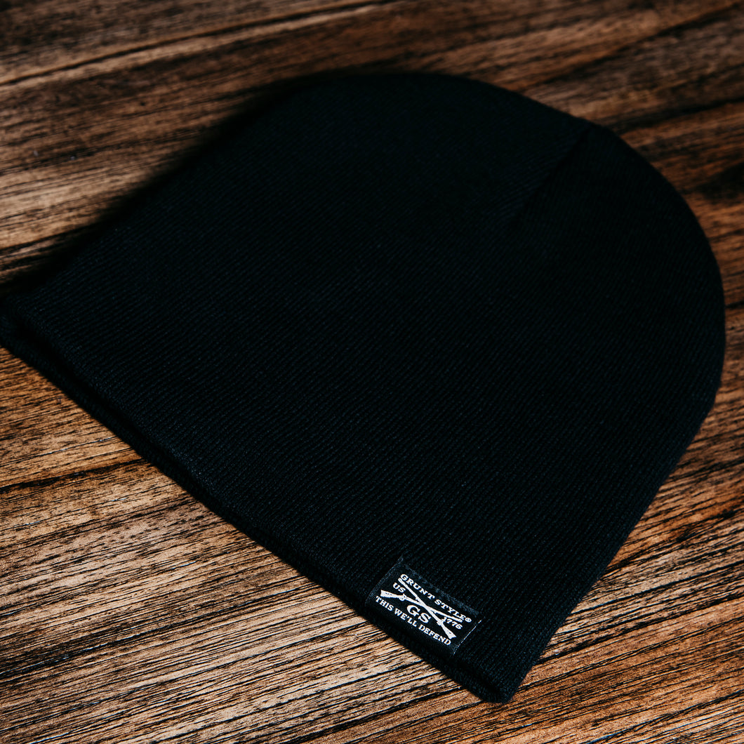 GS Woven Label Black Beanie