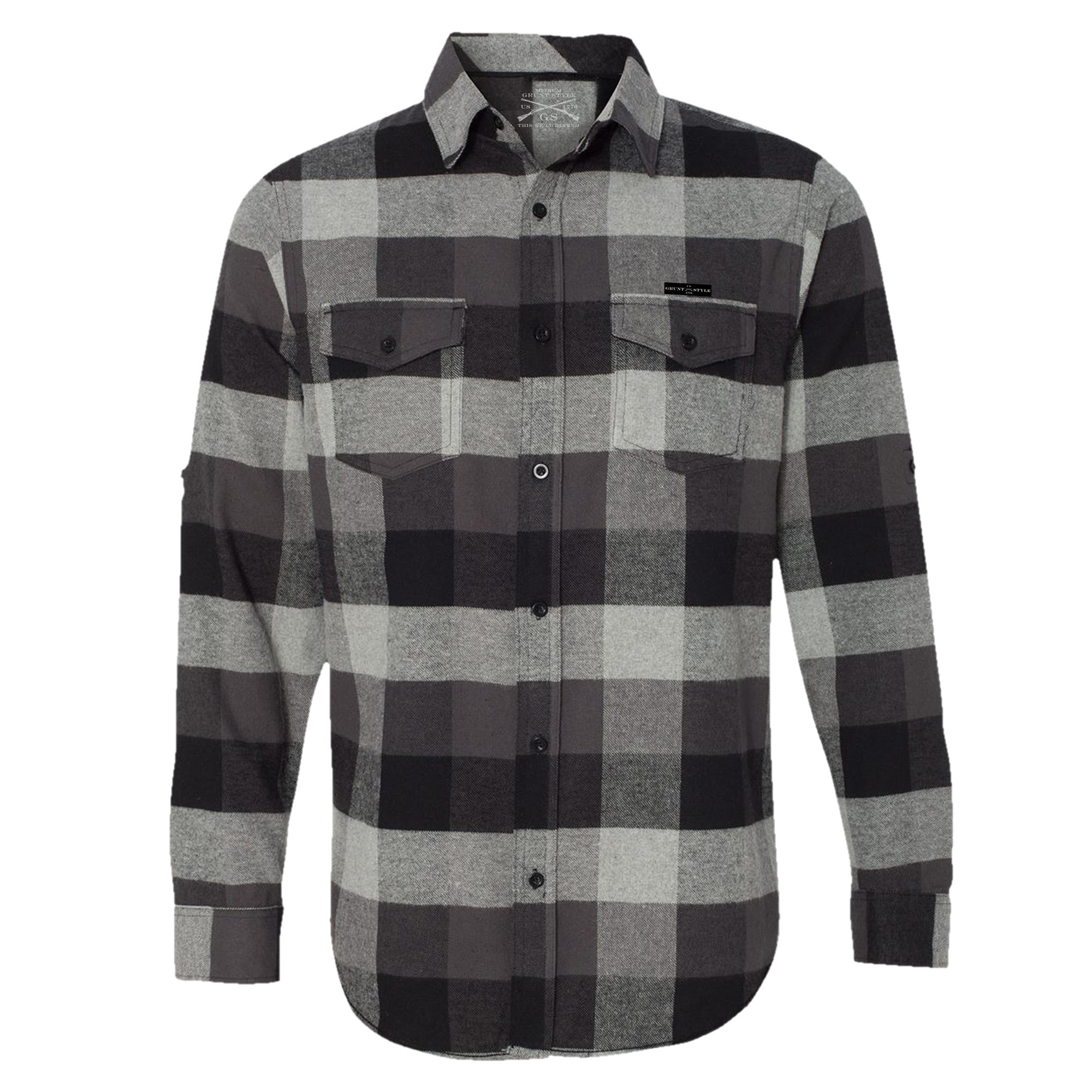 GS Button Up Black Plaid Flannel