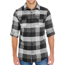 Load image into Gallery viewer, Grunt Style Black Plaid Flannel