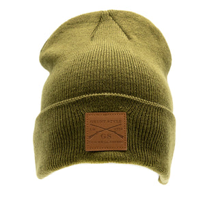 Grunt Style Leather Patch Cuffed Beanie - OD Green