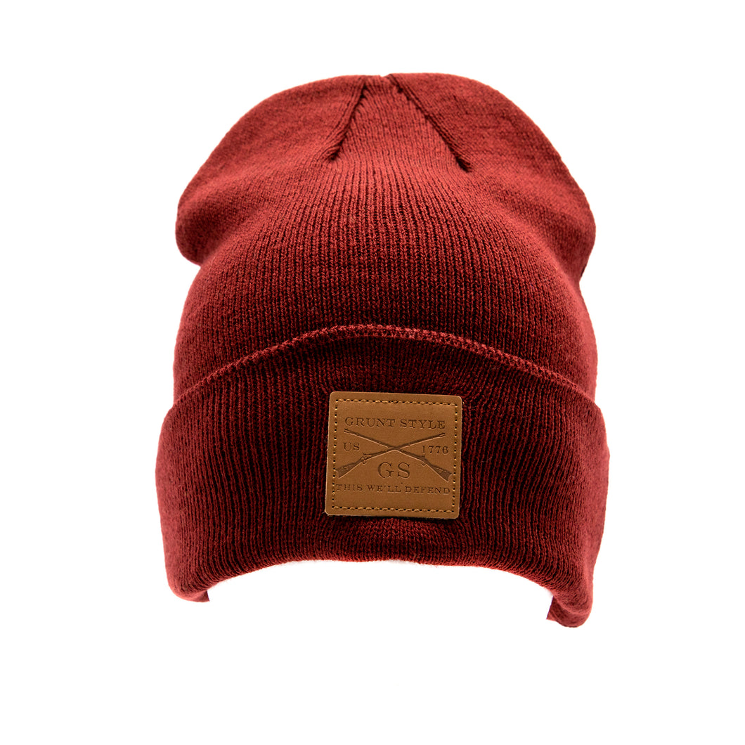 Grunt Style Leather Patch Cuffed Beanie - Maroon