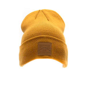 Grunt Style Leather Patch Cuffed Beanie - Coyote