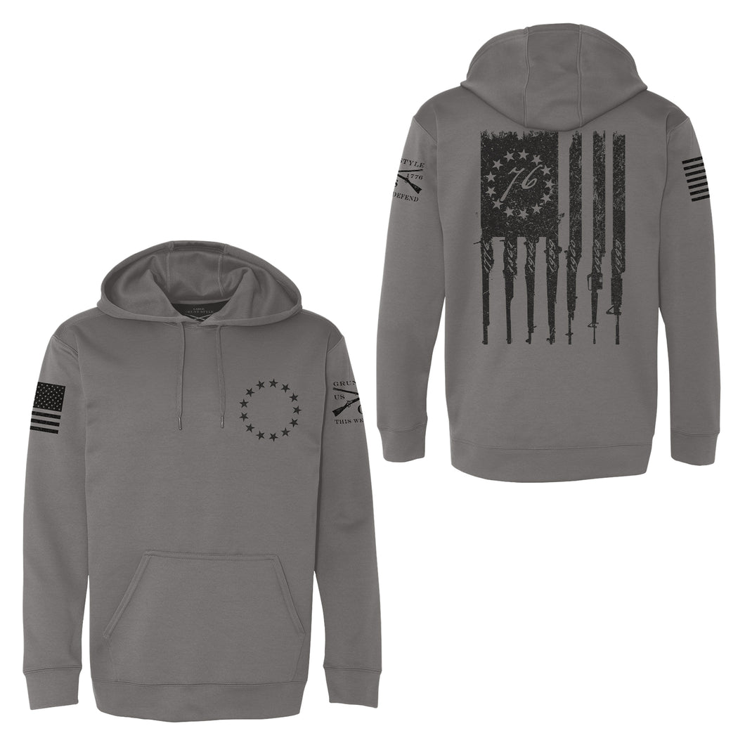 Betsy Rifle Flag Poly Hoodie