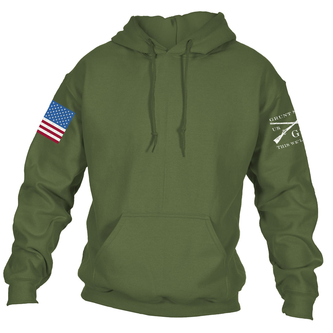 Full Color Flag Basic Hoodie - Military Green