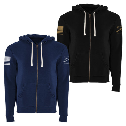 Grunt Style Premium Basic Full Zip Hoodie is available in two colors, Black and Midnight Navy