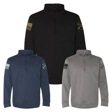The Men's Grunt Style Basic Poly Quarter Zip comes in three colors, Black, Navy, and Charcoal