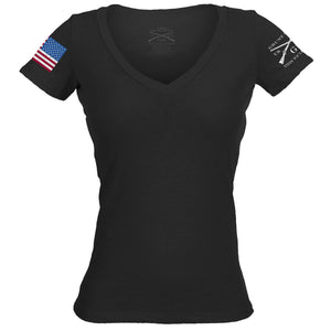 Women's Full Color Flag Basic - Black V-Neck