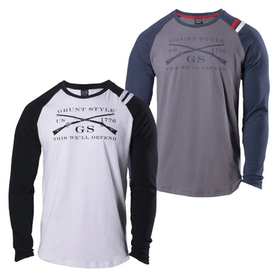 Navy and Asphalt and Black and White colors available in the Grunt Style Shoulder Stripe Long Sleeve