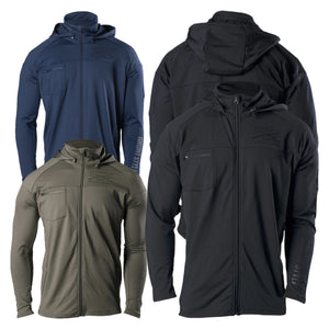 Group shot of the different colors, Black, Olive, and Navy, that are offered in the Full Zip Cold Weather Compression Jacket