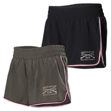 Load image into Gallery viewer, Black and Olive colors available in the Women's Stretch Woven Gym Short