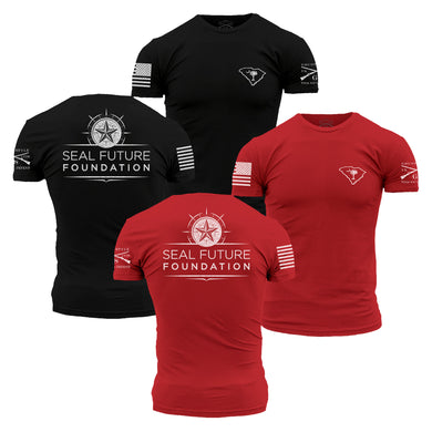 The Seal Future Foundation Men's Short Sleeve Graphic Tee  has front and back logos, and comes in two colors, Black and Red.