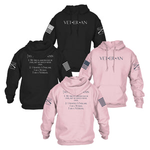 View of the Front and Back of the Black and Pink Hoodies offered in the Woman Veteran Hoodie