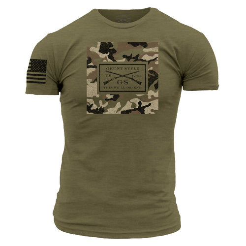 Men's Short Sleeve Graphic Tee in Military Green and Camo with Grunt Style Graphic Logo
