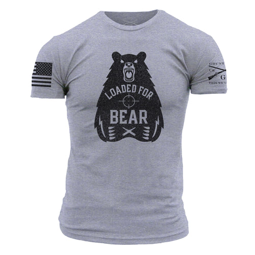 Loaded for Bear Men's Short Sleeve Graphic Tee in Grey