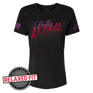 Pretty Lethal Women's Short Sleeve Relaxed Fit Graphic Tee in Black