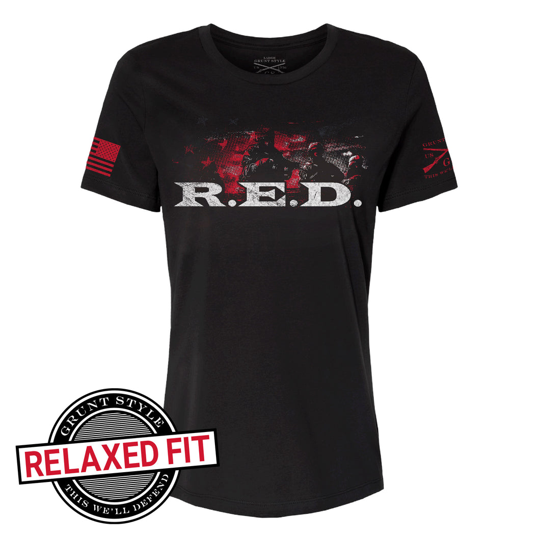 R.E.D. Remember Everyone Deployed Women's Short Sleeve Relaxed Fit Graphic Tee in Black