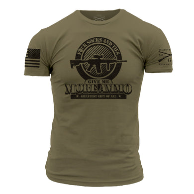 front graphic on a green short sleeve men's tee that stresses the importance of ammo as the greatest gift of all