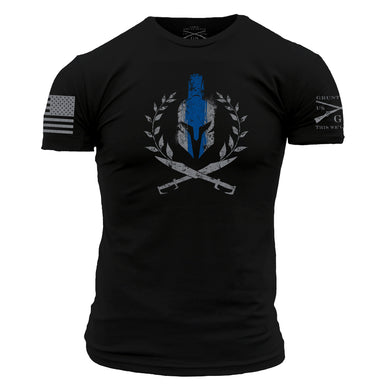 Front graphic of the Spartan Blue Line Men's Short Sleeve Graphic Tee