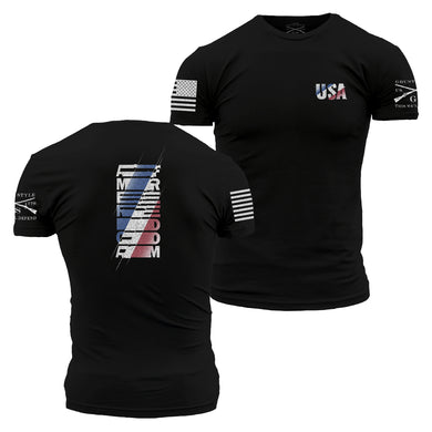the USA matrix graphic tee is a two sided tee with red white and blue graphics on either side