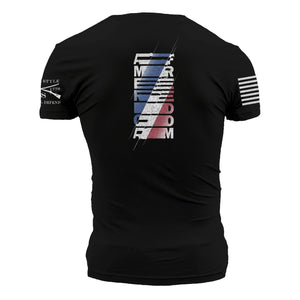 The back of the USA Matrix black short sleeve graphic tee with a red white and blue logo that transitions from the word america to freedom