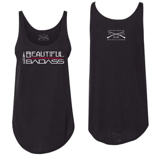 Front and back of the Beautiful Badass Women's Flowy Tank in Black
