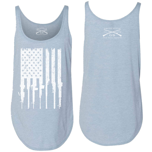 Front and back of the Rifle Flag Women's Flowy Tank in Stonewash Denim