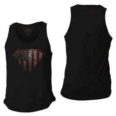 Front and back of the Super Patriot 2.0 Men's Tank in Black