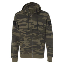 Load image into Gallery viewer, Grunt Style Camo Leather Patch Full-Zip Hoodie