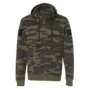 Grunt Style Camo Leather Patch Full-Zip Hoodie