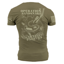 "Load image into Gallery viewer, Backside of the RCPT - Sandsnake V Men's Short Sleeve Graphic Tee that says ""Operation Sandsnake at Skydive Palatka"""