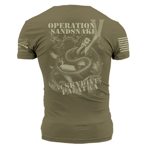 "Backside of the RCPT - Sandsnake V Men's Short Sleeve Graphic Tee that says ""Operation Sandsnake at Skydive Palatka"""