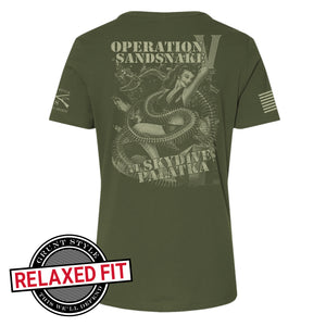 Back view of the RCPT - Sandsnake V - Women's Short Sleeve Relaxed Fit Graphic Tee, logo reads Operation Sandsnake at Skydive Palatka