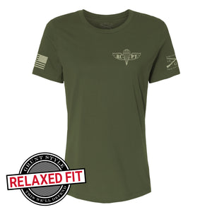 Front view of the RCPT - Sandsnake V - Women's Short Sleeve Relaxed Fit Graphic Tee, logo with RCPT