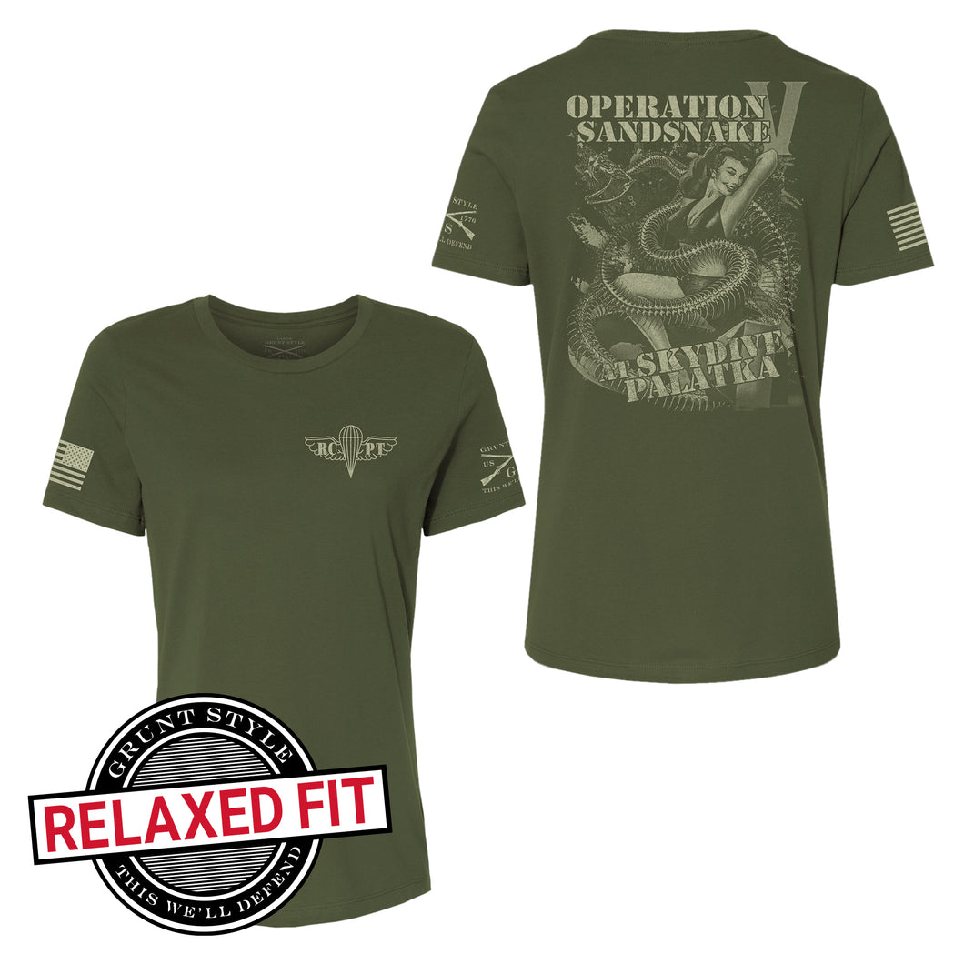 Front and back view of the RCPT - Sandsnake V - Women's Short Sleeve Relaxed Fit Graphic Tee, logo with RCPT on the front, back reads Operation Sandsnake at Skydive Palatka