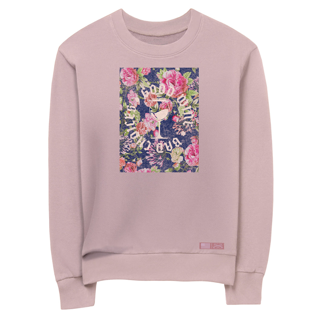 Front view of the Women's Good Wine Terry Crew Sweatshirt that says