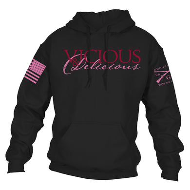 Front logo of the Vicious & Delicious Hoodie for Women