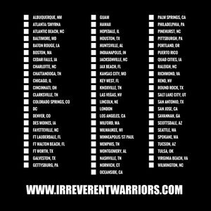The back graphic found on the Irreverent Warriors - Not All Heroes Wear Pants 2.0 Men's Short Sleeve Graphic Tee in Black, listing off relevant cities