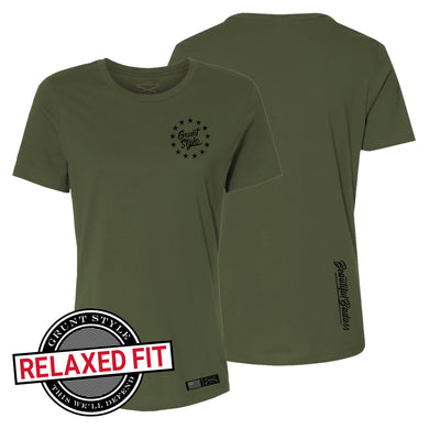 Front and back of the Women's Beautiful Badass 2.0 in Military Green