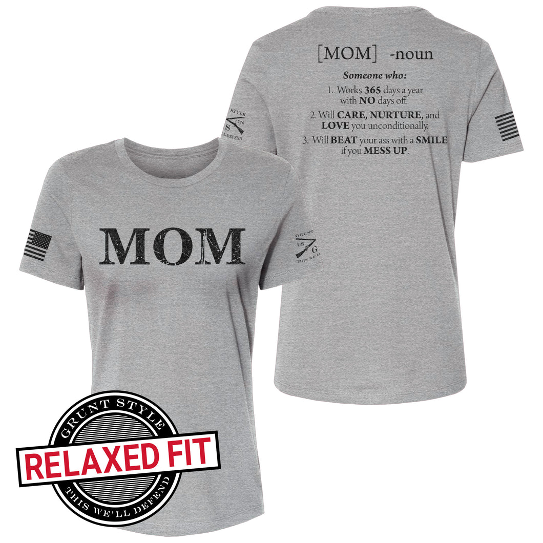The front and back of the Women's Mom Defined Relaxed Fit Short Sleeve Tee in Heather Grey