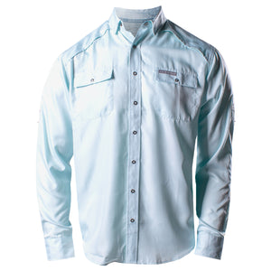 Front of the Grunt Style Long Sleeve Fishing Shirt in Light Blue