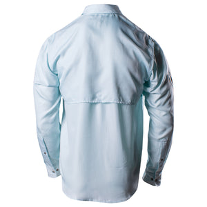 Back of the Grunt Style Long Sleeve Fishing Shirt in Light Blue, featuring the breathable back panel