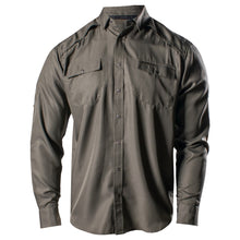 Load image into Gallery viewer, Front of the Grunt Style Long Sleeve Fishing Shirt in Olive