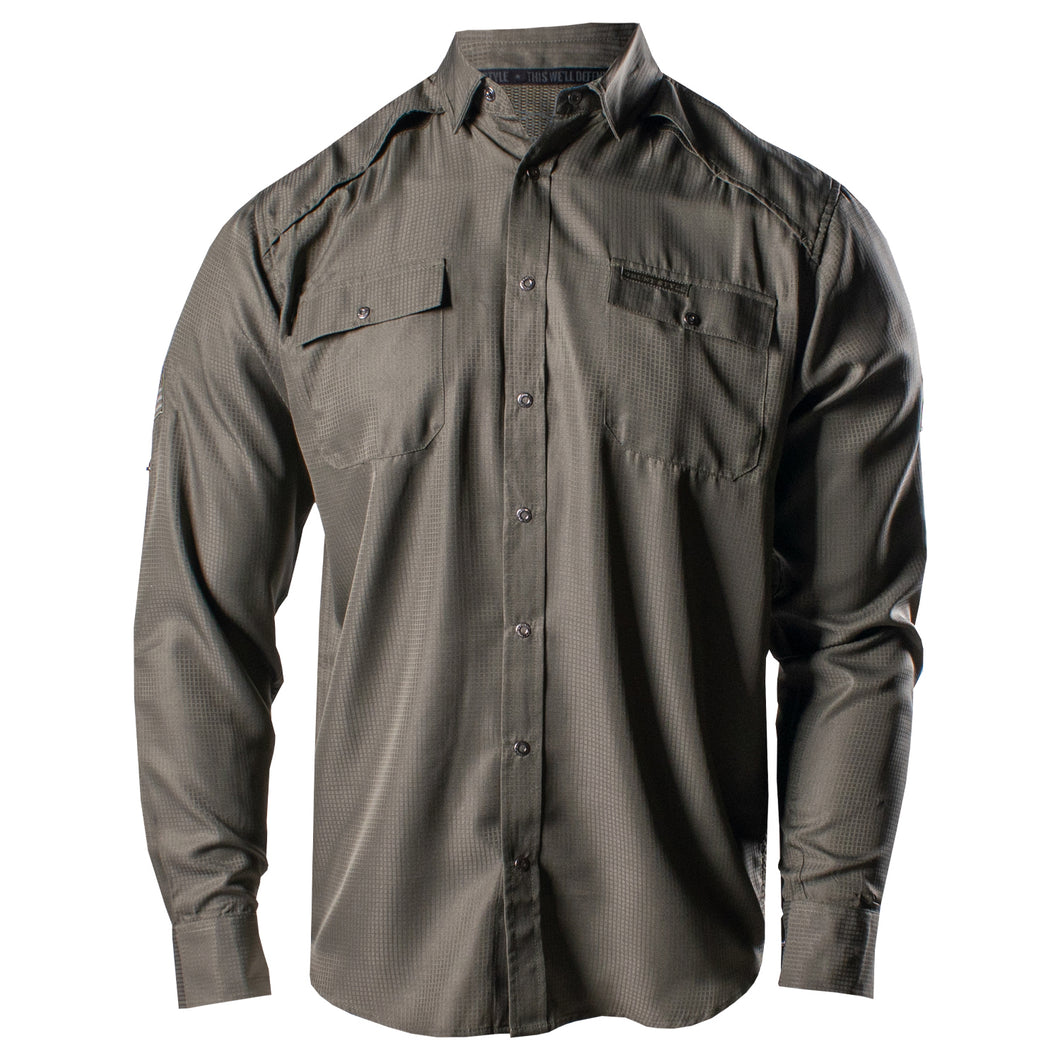 Front of the Grunt Style Long Sleeve Fishing Shirt in Olive